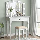 Tribesigns White Vanity Set with Lighted Mirror, Makeup Dressing Table and Stool Set with Large Drawer, Dresser Table Set for Women (White)