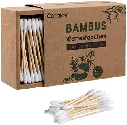 Bamboo Cotton Swabs 200ct   Wooden Cotton Swab   Double Tipped Ear Sticks   Recyclable & Biodegradable cotton buds for Ears   Plastic Free Makeup Swab