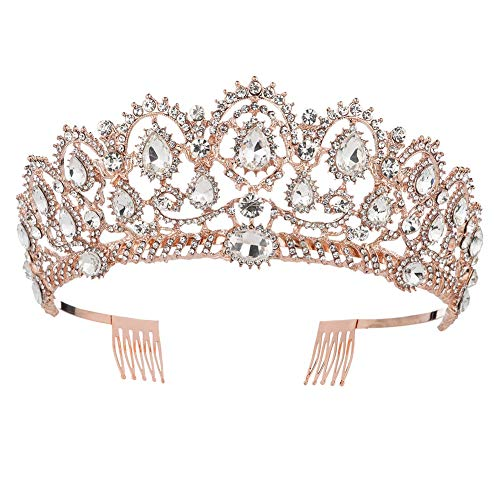 Queens Royal Crown Pin - KMVEXO Baroque Royal Queen Gold Wedding Crown Crystal Princess Tiara Headbands for Women Bridal Party Birthday Headpieces (Rose Gold White)