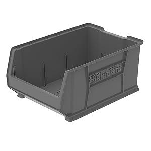 Akro-Mils 30288GREY Super Size Plastic Stacking Storage, 24-Inch x 16-Inch x 11-Inch, Grey