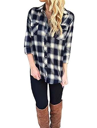 Seraih Womens Basic Collar Long Sleeve Tartan Plaid Shirt (S, Black Plaid)