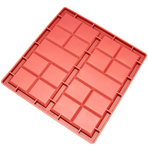 Freshware CB-810RD 2-Cavity Silicone Break-Apart Flat Giant Chocolate, Protein and Energy Bar Mold ()