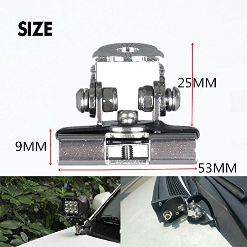 Triclicks 2pcs 304 Stainless Steel Pillar Hood Mount Bracket Clamp Holder for Offroad Light LED Work Lights Bar DRL by Triclicks (Image #7)
