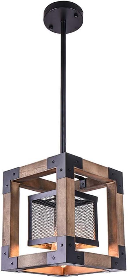 Hai Ying Lámpara Colgante Industrial Retro E27 Diseño Creativo en Hierro y Madera for Cojines Restaurante Bar 22 x 22 x 26 cm [Clase energética A + +]: Amazon.es: Hogar