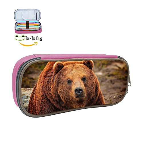 Grizzly Sewing Patterns - TongTONG Brown Bear Face Grizzly Brown Bear Growling Pencil Bag Pen Case Stationery Pouch Back To School Student Box