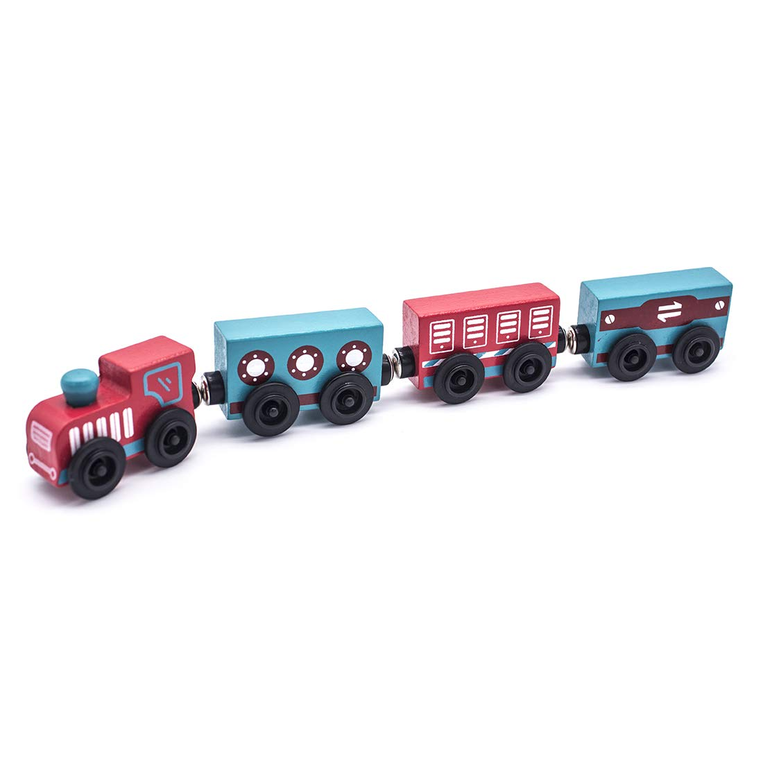 MQ Wooden Magnetic Train Set Toy Train Set - 4 Pieces for Kids 3+ (The Little Country Train)
