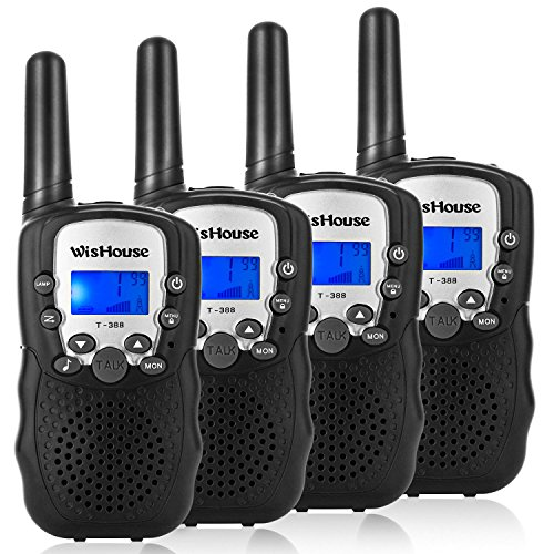 WisHouse Walkie Talkies for Kids,Hot Toys for Boys and Girls Best Walky Talky with Flashlight Easy to Use and Long Range for Kart,Festival Gifts and Outdoor Activity Adventure(T388 Black 4 Pack)