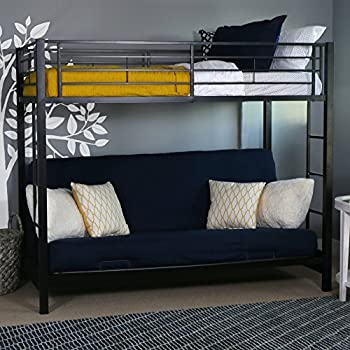 Wondrous We Furniture Modern Metal Pipe Twin Over Futon Bunk Kids Bed Bedroom Storage Guard Rail Ladder Black Gmtry Best Dining Table And Chair Ideas Images Gmtryco