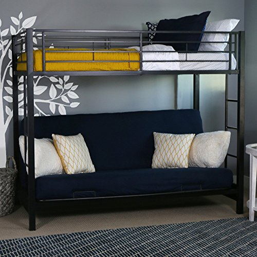 (Walker Edison Twin-Over-Futon Convertible Couch with Metal Frame and Ladder Bunk Bed, Black)