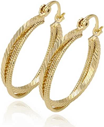 Juvel Jewelry Fashion Noble Style 14K Gold Plated Hoop Earrings 3 Circles Round Shape For Party