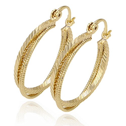 Flag Gold 18k (Juvel Jewelry Fashion 14K Gold Plated Earring Hoop Three Round Style For Anniversary)
