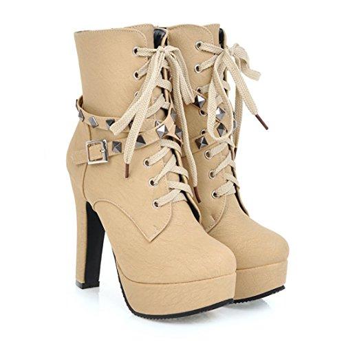 En Chaussures Mode Bottines Hauts Avec À Rond Fermeture Bout Femmes De Uh Rivets Plateforme Talons Bloc Lacet Noir Et Eclair Boucles U1w45qxnW