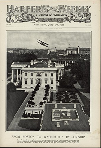 Airplane Flying Over Whitehouse Biplane Aviation nice 1911 great antique print