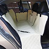 Waterproof Dog Car Seat Cover Backseat Pet Seat Cover Hammock Mat for SUVs Trucks with Nonslip Backing With Anchors with Seatbelt with Pocket Quilted 140cmx150cm Beige