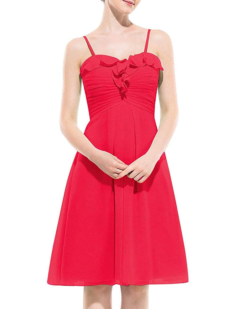 Hot Pink Uther Spaghetti Strap Bridesmaid Dress Short Homecoming Party Cocktail Dresses