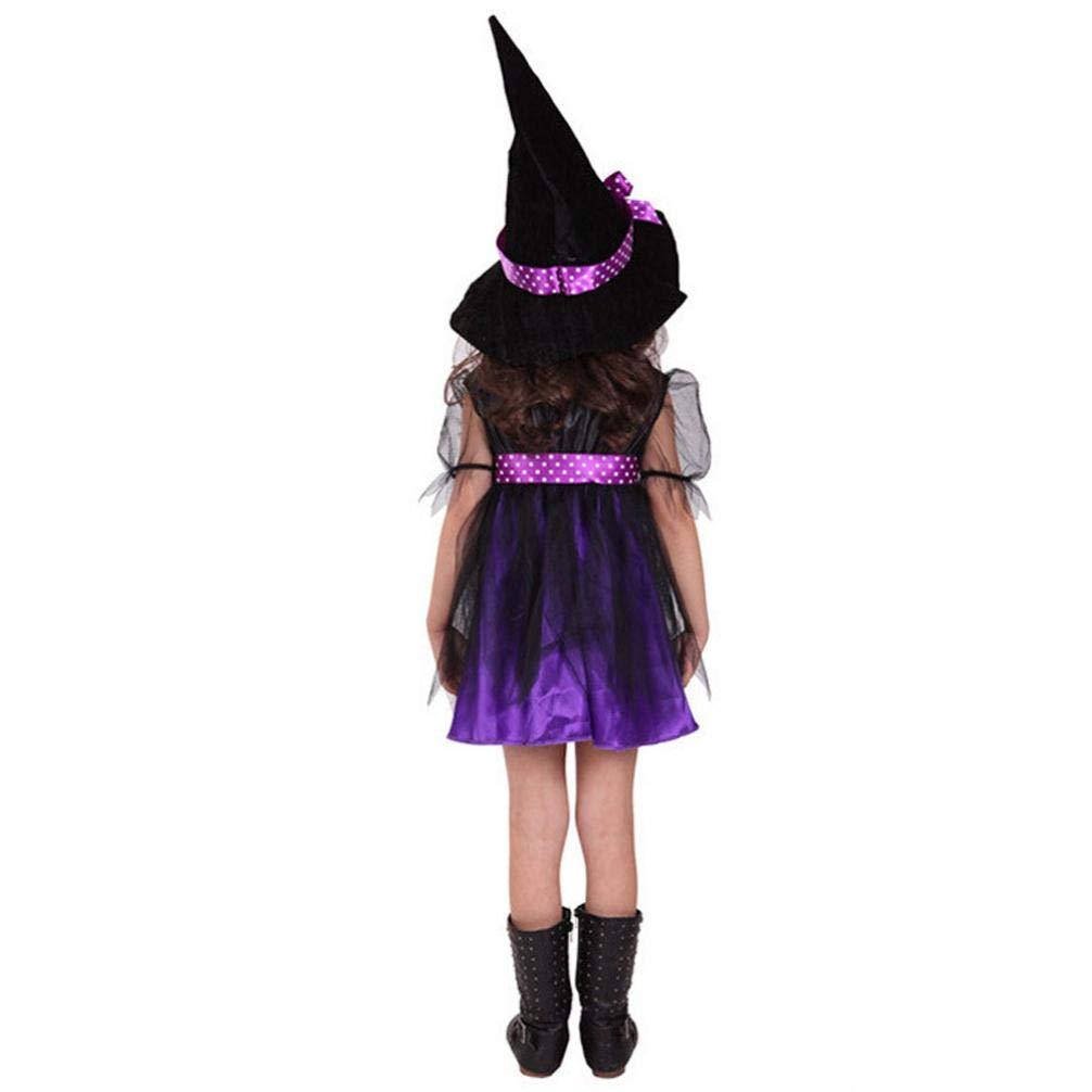 Fossen Disfraz Halloween Niñas 2-15 Años Vestidos y Sombrero Bruja Ropa Costume Vestirse: Amazon.es: Ropa y accesorios