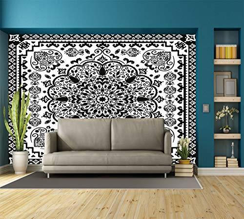 Large Paisley Wallpaper - Large Wall Mural Sticker [ Ethnic,Ethnic Mandala Floral Lace Paisley Mehndi Design Tribal Lace Image Art Print Decorative,Black and White ] Self-Adhesive Vinyl Wallpaper/Removable Modern Decorating