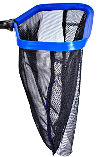 Crystal Pool Rake, HEAVY DUTY / /, Modern Brushed Aluminium Heat Treated Leaf Scoop - Easy Glide Low Drag Skimmer Scoop - Double Stitched Net Bag, Double Layer Long Life Basket Netting - Fast Scoop. (Crystal Blue Pools And Patios)