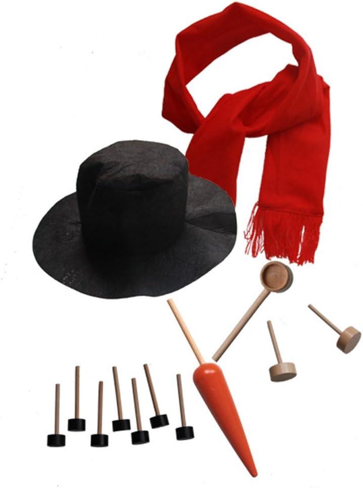 Tinksky Muñeco de nieve Decoración vestir Kit de vacaciones de invierno al aire libre Juguetes Decoración Navidad regalo sombrero bufanda Pipe ojos Boca nariz botón 13pcs regalo de Navidad DIY