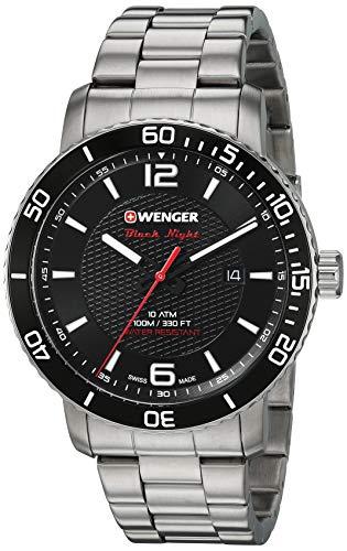 Wenger Men's Roadster Black Night Swiss-Quartz Stainless-Steel Strap, Silver, 22 Casual Watch (Model: 01.1841.104)