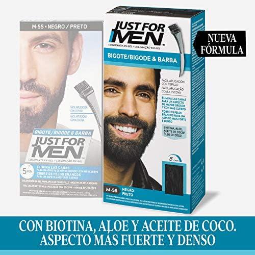 Just For Men, Tinte Colorante en gel para barba y bigote para hombre. Elimina las canas y cuida la barba en 5 minutos. Castaño Negro, 15 ml (Formula ...