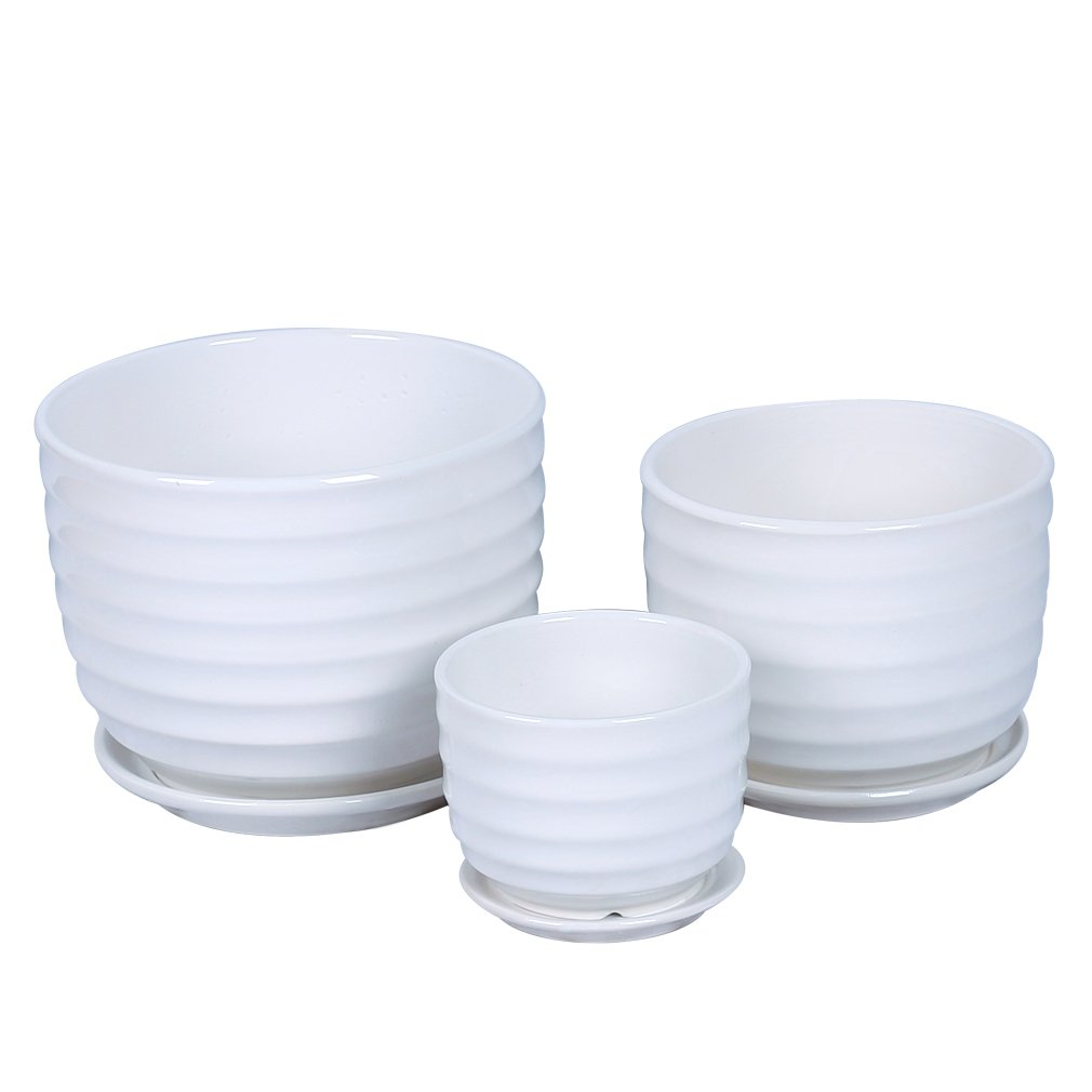 GAQUNH White Flower Pot Round Ceramic Plant Pots Set (Pack of 3)