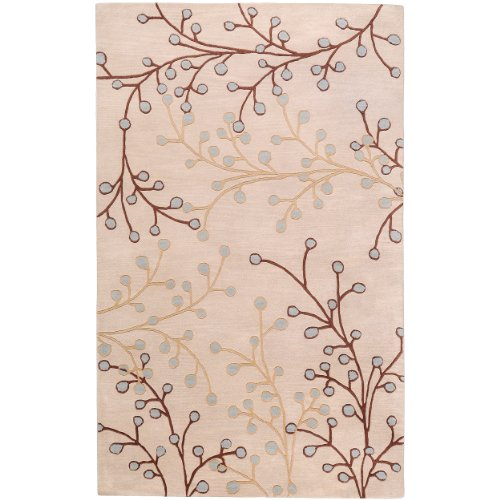 Transitional Floral Gray Wool (Surya Athena ATH-5008 Transitional Hand Tufted 100% Wool Feather Gray 9' x 12' Floral Area Rug)