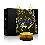 3D Illusion Lamps Animal Langtou Shape LED Desk Table Night Light 7 Color Touch Lamp Kiddie Kids Children Family Holiday Gift Home Office Childrenroom Theme Decoration (Wolf lamp)