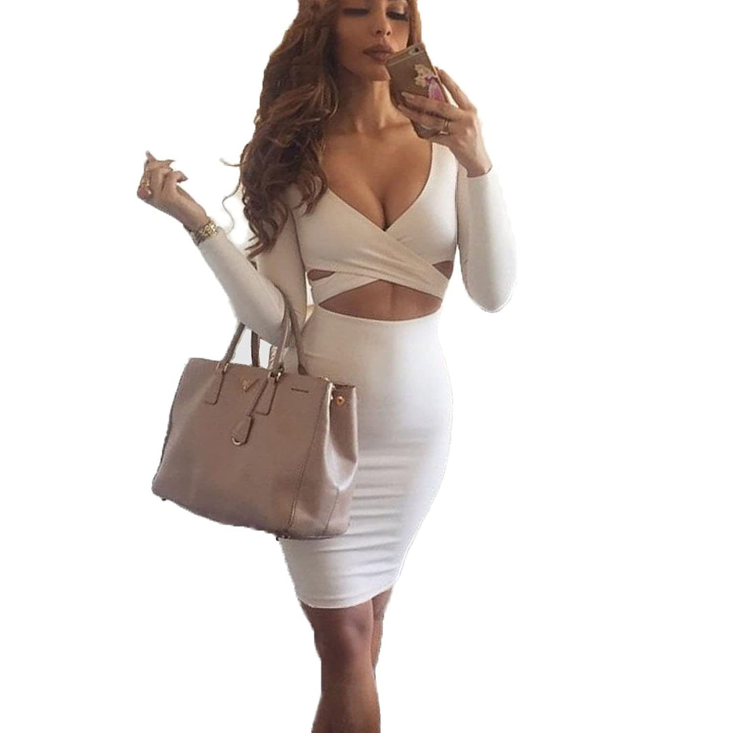 Romanstii Fashion Women Sexy Slim Cutout Stretch Bandage Dress Party Dress