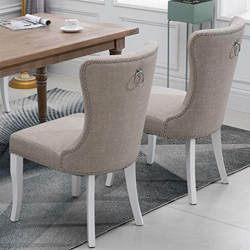 G-house Country Theme Linen Fabric Upholstered Dining Chair with White Wood Legs 2 PCS