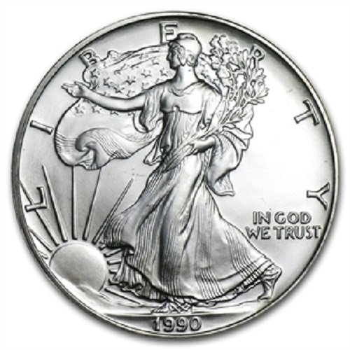 can Silver Eagle Low Flat Rate Shipping .999 Fine Silver Dollar Uncirculated US Mint (1990 American Silver Eagle)