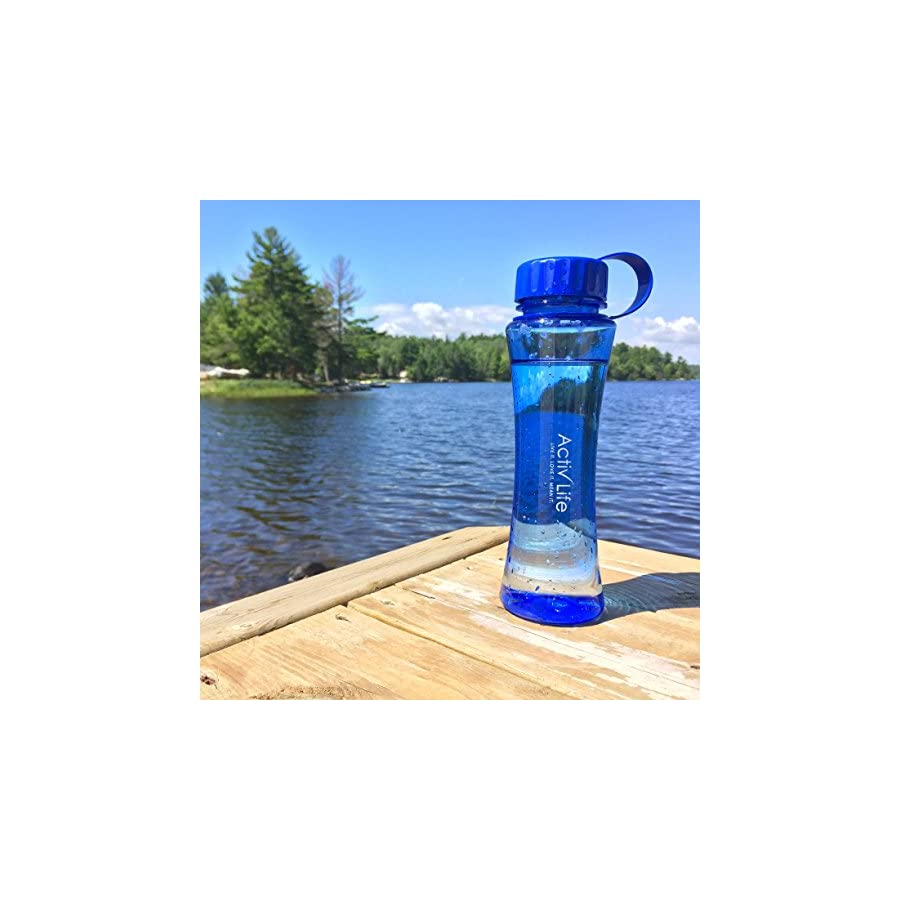 Activ Life Cool BPA Free Blue Water Bottle Best for Women and Ladies Who Love Hiking, Biking, Fitness Training, Spinning, Pilates or Yoga Workouts Made in USA