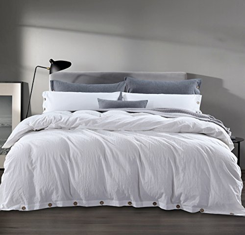 Sleepbella Duvet Cover Queen, 3 Piece Washed Cotton Duvet Cover Set with Buttons (Queen, White)