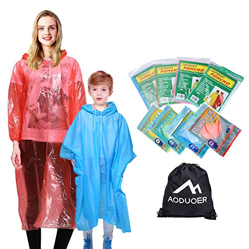 Rain Poncho Family Pack - Thicker Hooded Disposable Emergency Rain Ponchos for Women Men Teens Young Boys and Girls Rain Gear Poncho Coat Travel Accessories Survival Pack by Aoduoer