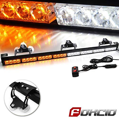 FOXCID 32 LED Emergency Warning Traffic Advisor 13 Modes Vehicle LED Strobe Light Bar with Large Suction Cups and Cigarette Lighter White Amber