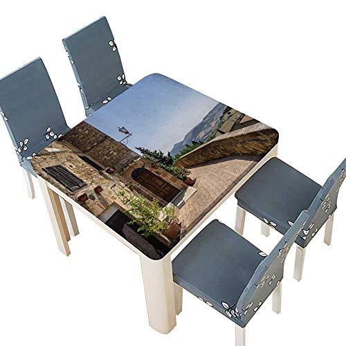PINAFORE Printed Fabric Tablecloth Les MURS de Pienza en Toscane Italie Multi Colors & Sizes 33.5 x 33.5 INCH (Elastic - Linen Toscano Shirt