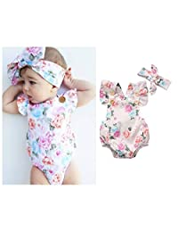Baby Girls Full Flower Print Buttons Ruffles Romper Bodysuit with Headband