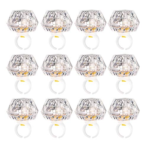 Leobee Flashing Led Light up Rings Toys, Colorful Blinking Bumpy Rings for Birthday Bachelorette Bridal Shower Gatsby Party Favors, Clear Case 12 Pack ()