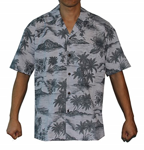 New Alohawears Clothing Company Made In Hawaii ! Men's Island Palm Trees Hawaiian Cruise Luau Aloha Shirt for sale