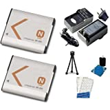 2 Battery Pack, Replacement Sony NP-BN1 Extended Rechargeable Battery, Digi AC/DC Rapid Battery Charger, Mini Tripod, LCD Screen Protectors, Camera Cleaning Kit for Select Sony Cameras
