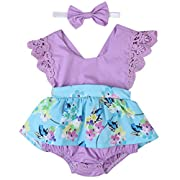 Baby Girl Clothes Floral Cotton Romper Skirt Bodysuit Jumpsuit Outfit Dress with Headband (6~12months, Purple)