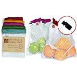 "The Original Eco Friendly See Through Washable and Reusable Produce Bags - Soft Premium Lightweight Nylon Mesh Large - 12"" X 14"" - Set of 5 (Red, Yellow, Green, Blue, Purple) 