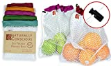 """The Original Eco Friendly See Through Washable and Reusable Produce Bags-Soft Premium Lightweight Nylon Mesh Large - 12"""" X 14"""" - Set of 5 (Red, Yellow, Green, Blue, Purple) 