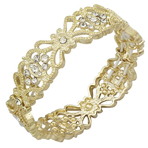 - Gold Bracelet Q&Q Fashion Art Deco 1920s Accessory Flapper Costume Flower Austria Crystal Bridal Cuff Bracelet Bangle