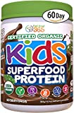 Feel Great 365 USDA Organic Green Superfood Kid's Protein Powder (60 Day), Mocha Chocolate Vegan Smoothie Mix with Vitamins, Prebiotics, Probiotics, Antioxidants & Natural Enzyme Support, Gluten Free