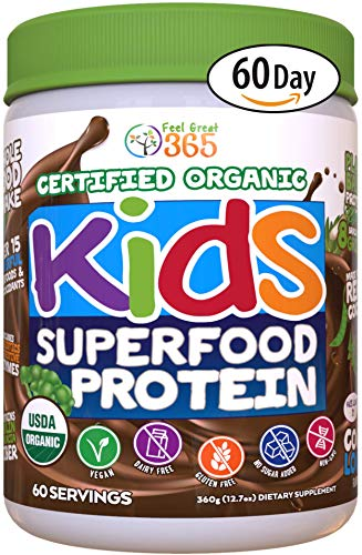 Feel Great 365 USDA Organic Green Superfood Kid's Protein Powder (60 Day), Non-GMO Vegan Smoothie Mix with Vitamins, Prebiotics, Probiotics, Antioxidants and Natural Enzyme Support, Gluten Free