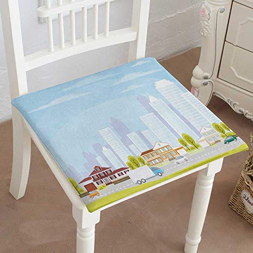 Cottage Office Modular (Mikihome Chair Pads Square Cotton Chair Cushion The Cottage Settlement Suburb of The City Vector Background Soft Thicken Seat Pads Cushion Pillow for Office,Home or Car 16