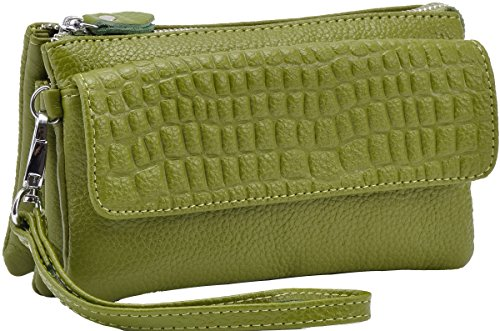 Satchel Clutches Wrist Heshe Cross Handbags Pocket Bags body Shoulder Leather Bag Womens let Green Apple Genuine Ladies for qUtntxOg