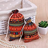 HOUTBY 50Pcs Ethnic Style Cotton Linen Jewelry Coin Pouch Drawstring Party Wedding Christmas Favor Gift Bags Candy Earrings Jewelry Bags Sachet