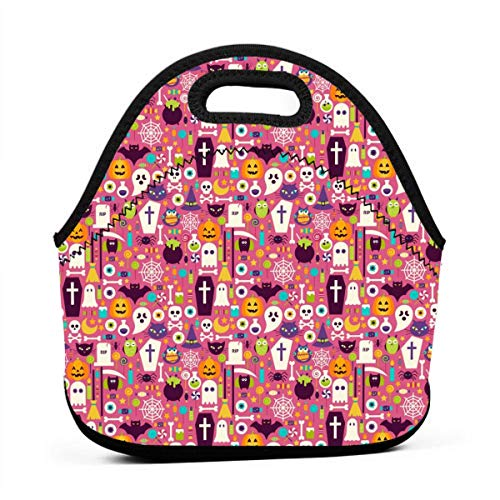 Fashion.Reborn LunchBags Insulated Reusable Lunch Bag Pumpkin Ghost Halloween Party Patterns Lunch Bag Thermal Cooler Lunch Pouch with Portable Carrying